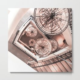 Abstract Perspective // Rose Gold Lighting Ornamental Chandelier Stairway View Metal Print