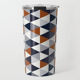 Navy Rust Small Triangles B Travel Mug