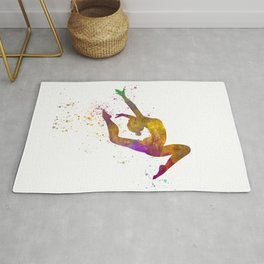 Young woman practices rhythmic gymnastics in watercolor 12 Rug
