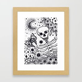 BONES IN THE GARDEN Skeleton And Moon Moth Framed Art Print