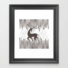 Dancing Deer - Black & White Framed Art Print