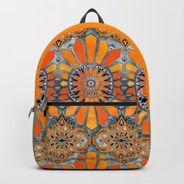 Celebrating the 70's - tangerine orange watercolor on grey Backpack