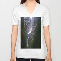 yosemite V-neck T-shirts featuring Yosemite Waterfall by RENA16