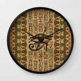 Egyptian Eye of Horus Ornament on papyrus Wall Clock