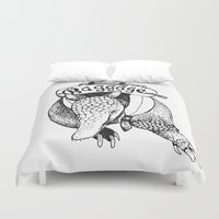 backpack Duvet Covers featuring Baggage Armadillo by Nat Osorio