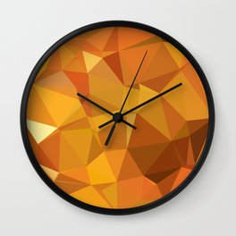 Dark Orange Yellow Abstract Low Polygon Background Wall Clock
