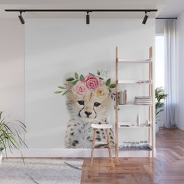 Baby Cheetah with Flower Crown Wall Mural
