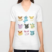 eevee V-neck T-shirts featuring Eevee Evolutions by Nozubozu