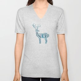 green deer watercolor Unisex V-Neck