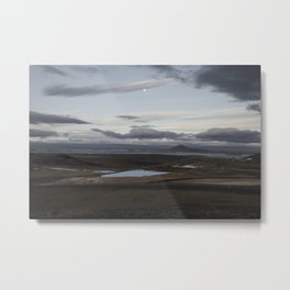 Moon over Mývatn, Iceland Metal Print