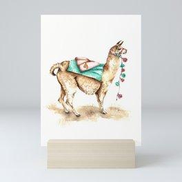 Watercolor Llama Mini Art Print