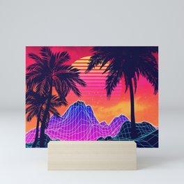 Neon glowing grid rocks and palm trees, futuristic landscape design Mini Art Print
