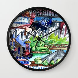 Memphis Watercolor Wall Clock