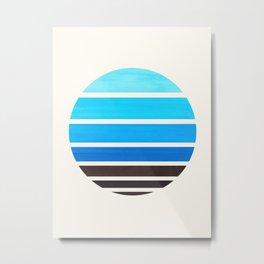 Cerulean Blue Mid Century Modern Minimalist Circle Round Photo Staggered Sunset Geometric Stripe Des Metal Print