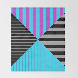 Stripes Quadrant - Purple, blue, black and grey stripes pattern Throw Blanket