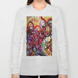 Whimsical Flower Girl's Force Field Acrylic and Watercolor Painting Long Sleeve T-shirt