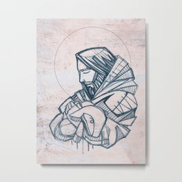 Jesus Christ Good Shepherd Metal Print