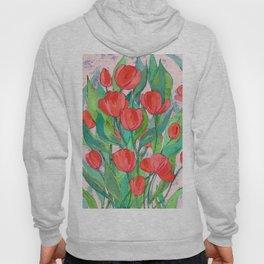 Blooming Red Tulips in Gouache Hoody