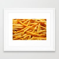 fries Framed Art Prints featuring fries. by Modern Wolf