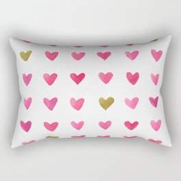 Watercolor Hearts - Pink, Red and Gold Rectangular Pillow