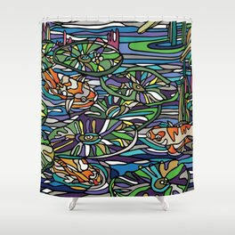Water lily with Koi Shower Curtain