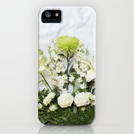 Green and Cream Flowers iPhone Case