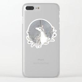 Unicorn & Nemophila Clear iPhone Case