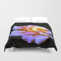 rose gold Duvet Covers featuring Pink And Gold Rose by minx267