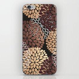 Copper Dahlia Floral Pattern iPhone Skin