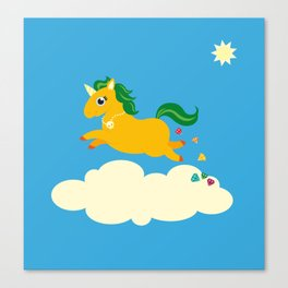 The golden unicorn of glitter poo Canvas Print