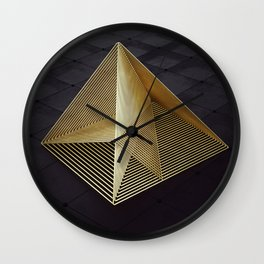 Golden pyramid Wall Clock