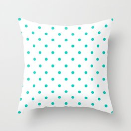 Aqua Small Polka Dots Pattern Throw Pillow