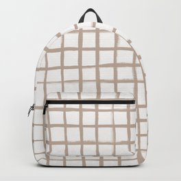 Strokes Grid - Nude on Off White Backpack