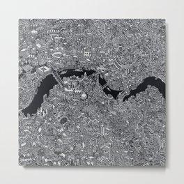 London map black and white Metal Print