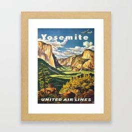 Yosemite National Park Vintage Travel Poster Landscape Illustration Framed Art Print