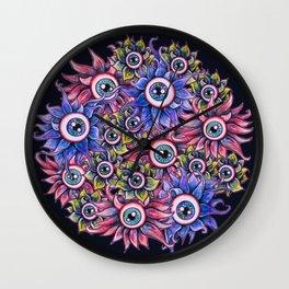 The Devil's Flower Garden - Demonic Eyeball Flowers Wall Clock