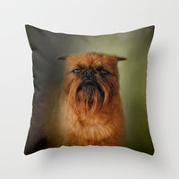 brussels Throw Pillows featuring The Brussels Griffon by Jai Johnson