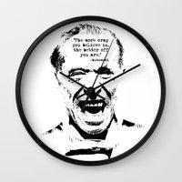 bukowski Wall Clocks featuring Charles Bukowski Quote Crap by Fligo