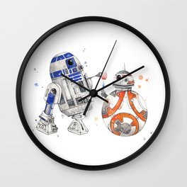 R2-D2 & BB-8 Watercolour Illustration Wall Clock