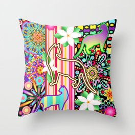 Mandalas, Cats & Flowers Fantasy Pattern Throw Pillow