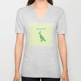 I Want Chocolate - Origami Green Kangaroo Unisex V-Neck