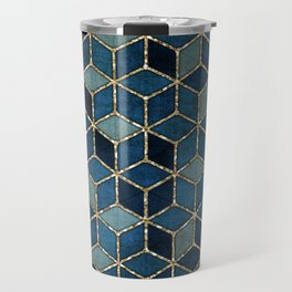 Shades Of Turquoise Green & Blue Cubes Pattern Travel Mug
