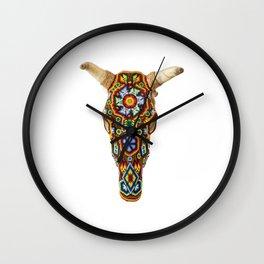 Huichol Bull Skull Wall Clock