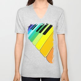 Piano Keyboard Rainbow Colors  Unisex V-Neck