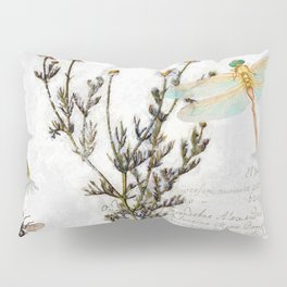 Chamomile Herb, Dragonfly Bumble Bee Botanical painting, Cottage style Pillow Sham