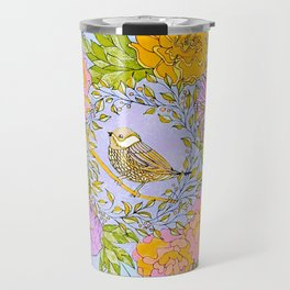 Spring Chickadee in Flowery Woodland Wreath Travel Mug