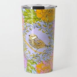 Spring Chickadee in Flowery Woodland Wreath Travel Mug