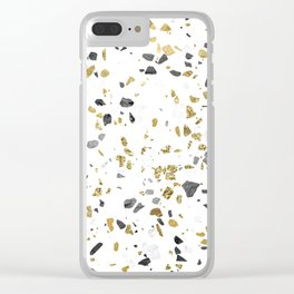 Black and Gold Terrazzo White Marble Clear iPhone Case