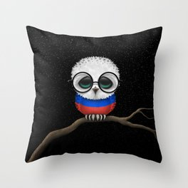 Baby Owl with Glasses and Russian Flag Throw Pillow