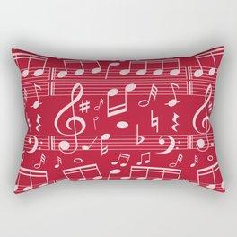 Music Note Design Music Teacher Gift Red White Rectangular Pillow